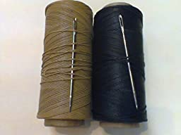 Waxed Nylon Mending Twine with a Niddle 100ft Black