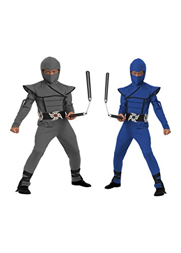 Grey And Blue Stealth Ninja Boys Costume Set (Medium (8-10))