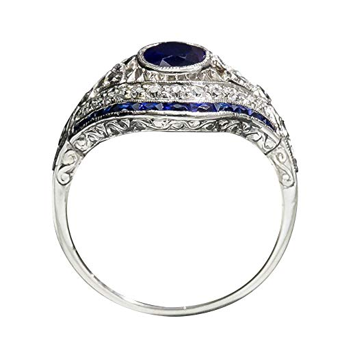 Faux Onyx Ring - bromrefulgenc Elegant Vintage Women Big Oval Faux Sapphire Hollow Carved Eye Finger Ring Jewelry Gift - Blue US 9