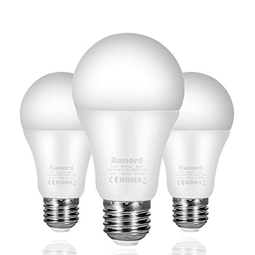 Dusk to Dawn Light Sensor Bulb, A19 12W LED Light Sensor Bulbs (Auto on/Off), E26 Base Smart Sensor Bulbs Warm Light 2700K, Porch Light, Indoor/Outdoor Lighting Lamp for Garage, Hallway, Yard, 3-Pack For Sale