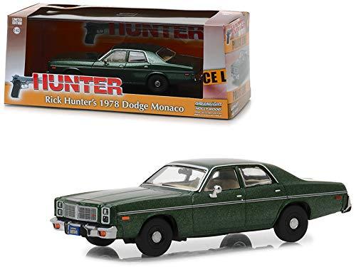 (Greenlight 1978 Dodge Monaco (Rick Hunter\'s) Green \Hunter\ (1984-1991) TV Series 1/43 Diecast Model Car )