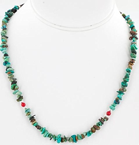 $200 Retail Tag Authentic Charlene Little Navajo Silver Natural Turquoise and Coral Native American Chain Necklace - Navajo Turquoise Necklace