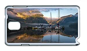 Cute Samsung Note 3 brand new cover Lake mountain boat morning fog PC White for Samsung Note 3/Samsung N9000