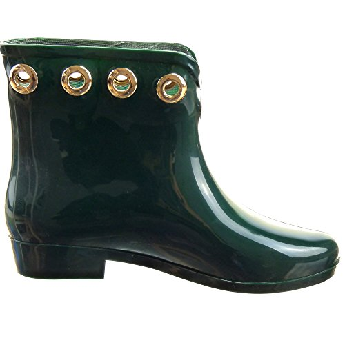 Sopily - Zapatillas de Moda Botines Botas de guma de lluvia A medio muslo mujer metálico Talón Tacón ancho 2.5 CM - Verde
