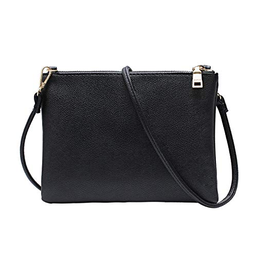 Crossbody Bag for Women, Small Shoulder Purses and Handbags LightweightPU Leather Wallet with Detachable Straps (Black Over The Shoulder Purse)