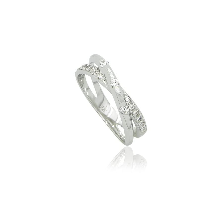 Sterling Silver CZ Crossover Crisscross Woven Ring Band