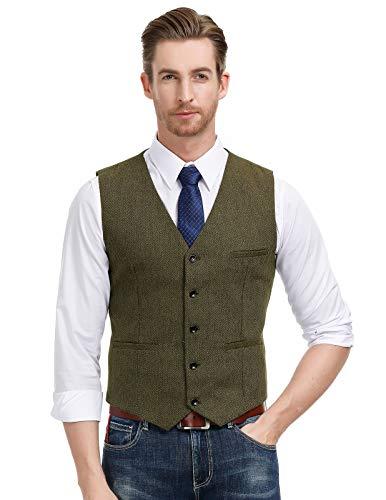 Percy Perry Men's Slim Fit Herringbone Tweed Suit Vest Premium Wool Waistcoat