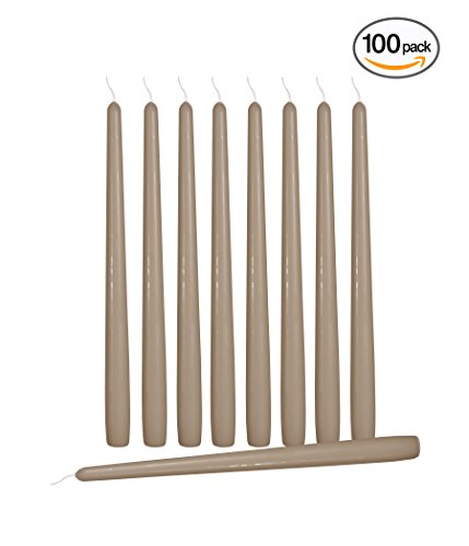 100 Pack Tall Taper Candles - 10 Inch Taupe Dripless, Unscented Dinner Candle - Paraffin Wax with Cotton Wicks - 8 Hour Burn Time - by Ner Mitzvah