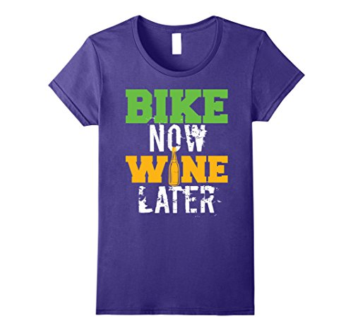 Bicycle Rider Wine (Womens Bike Now Wine Later Funny Wine Lovers Bicycling T-Shirt Medium Purple)