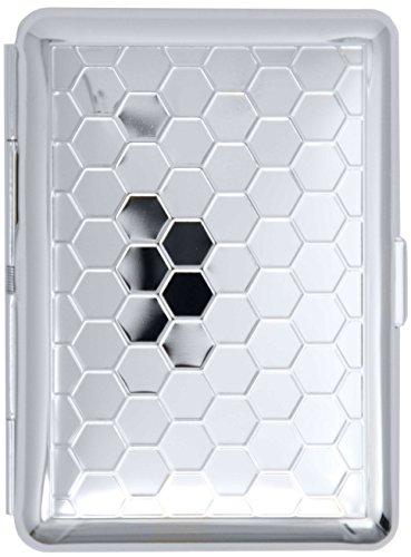 Silver Honeycomb (14 Kings) Metal-Plated Elastic Bands Cigarette Case & Stash Box