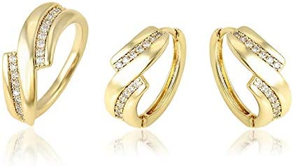6de46f1a864a Conjunto Compuesto por Pendientes Y Anillo Oro Amarillo con Diamantes  ENGARZADOS DE 18 KILATES Mujer