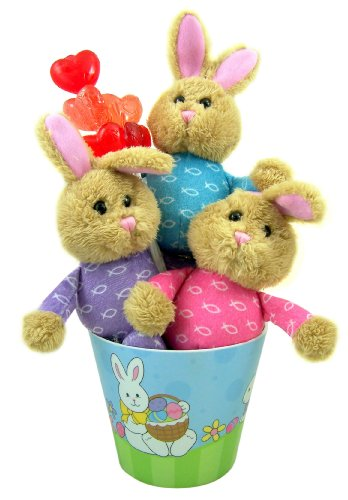 Ichthus Jesus Fish Plush Stuffed Animal Bunnie Set of 3 in Pastel Color Basket