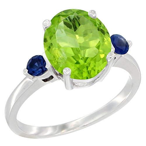 al Peridot Ring Oval 10x8mm Blue Sapphire Accent, size 10 (10x8mm Oval Cut Sapphire)