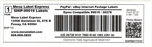 Mesa Label Express® Dymo Compatible SHIP-99019 Paypal / eBay Internet Postage Labels - (150 per Roll)