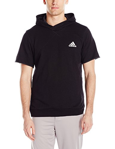 adidas Men's Basketball Cross Up Short Sleeve Hoodie, Black, X-Large by adidas