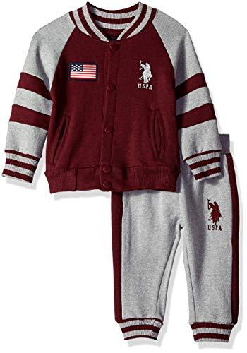 - U.S. Polo Assn. Baby Boys Fleece Jog Set, no no Attached Hood Light Heather Gray, 18M