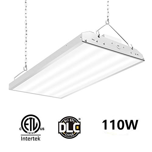 CINOTON Linear LED High Bay Light, LED Shop Light Fixture 110W 14300lm 1-10V dimmable 5000K [400W Fluorescent Equiv.] Motion Sensor Optional, Indoor Commercial Warehouse Area Light