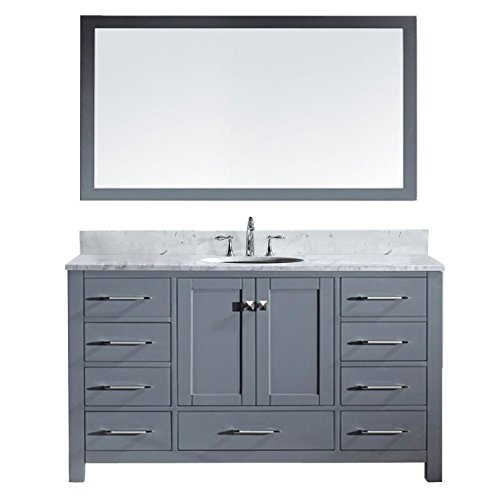 Virtu USA GS-50060-Wmro-GR Caroline Avenue Single Bathroom Vanity with Marble Top/Round Sink with Mirror, 60'', Grey by Virtu USA