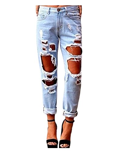 dchirs l Taille Small Legou Pantalons Jeans Bleu haute mode Femme Jean clair qxagSYw