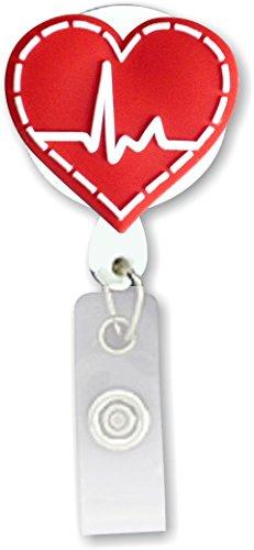 (Retractable Badge Holder 3D Soft Rubber EKG Heart Design SmartCharms)