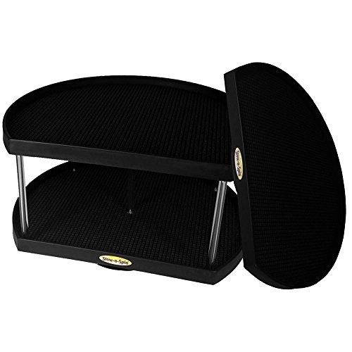 Bundle: Stow-n-Spin Kitchen Cabinet Storage Organizer 1 & 2 Tier Turntables, Black D-Shape Lazy Susan Spice Racks; Fits 12