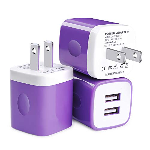 USB Wall Charger, Charger Box, FiveBox 3Pack Dual Port 2.1A Wall Charger Power Adapter Charging Brick Block Compatible iPhone Xs Max/XR/X/8/7, iPad, Samsung Galaxy S9 S8 S7 S6 Note 9 8, Android, LG