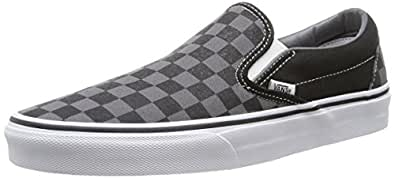 Vans Adult Classic Slip-On Checkerboard Trainers, Black (Black/Pewter Checkerboard), 3 UK (35 EU),Vn000Eye, For Unisex