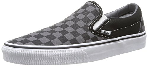 Vans Unisex Classic Slip-on Sneakers Black and Pewter Checkerboard - Black Slip On Classic