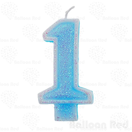[Numerals Birthday Party Cake Candle & Happy Birthday Cake Topper, Glitter Pink, Number