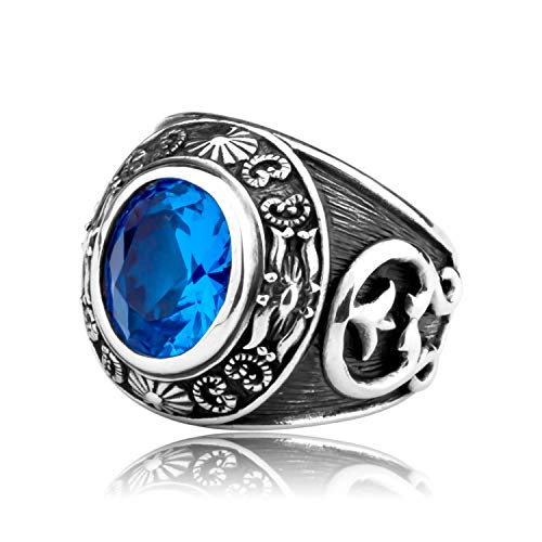 - MetJakt Vintage Blue Topaz Rings American Indian Totem Solid 925 Sterling Silver Ring Unisex Jewelry (10.5)