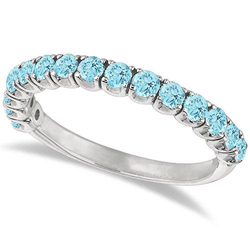 Aquamarine Semi-Eternity Ring Band 14k White Gold (Aquamarine White Gold Eternity Bands)