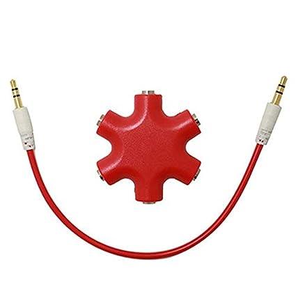Delleu Multi Auriculares Splitter 6 Puerto 3.5mm Audio Est/éreo Hub Auriculares Cable Divisor para Auriculares Splitter Adaptador