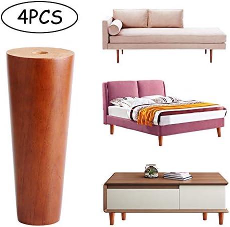 無垢材の家具の脚、25cm / 10インチの木製の脚サポート脚、テーブル脚キャビネット脚ソファ脚ベッド脚テレビキャビネット脚コーヒーテーブル脚(4個セット)