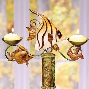 Decobreeze Home Holiday Decoration Capiz Shell Candelabra Bottle Topper-Tropical Fish