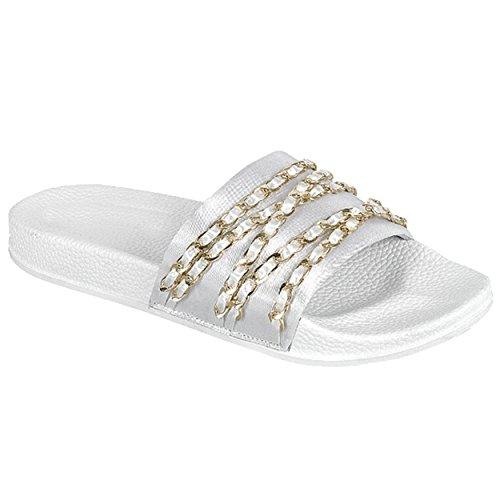 Glissière De Femmes Sur La Chaîne De Paillettes Ruban Plat Sandale Flip Flop Pantoufle Chaîne Blanche