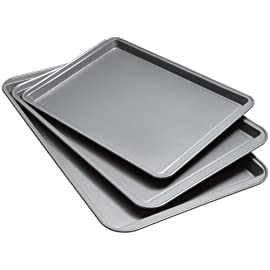 Good Cook Set Of 3 Non-Stick Cookie Sheets and 2 Cooling Racks 49 The Good Cook Non-stick Cookie Sheet comes with small, medium, and large sizes that provide the perfect option for any of your baking needs Top-quality non-stick coating that removes the need for scrubbing and keeps it looking brand new Updated design for increased durability that allows for repeated use for years to come