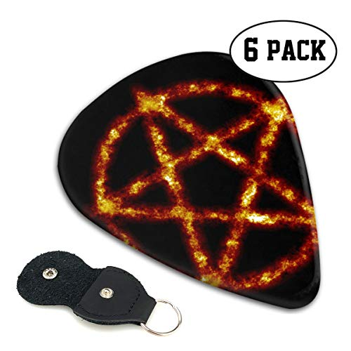Teesofun Fashion ABS Plastic Guitar Picks Cool Evil Pentagram Symbol Cool Stylish Guitar Accessories 6 Pack for Acoustic, Electric, Original and Bass Guitars ()