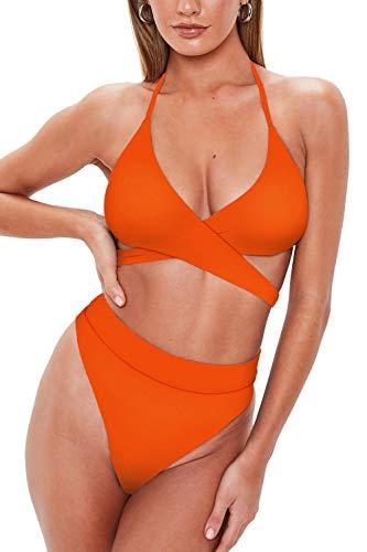 QINSEN Ladies Criss Cross Strappy Self Tie High Cut Thong Bikini Set Two Piece Swimwear Orange M ()