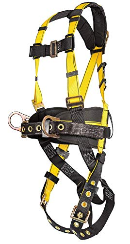 MSA (Mine Safety Appliances) 10077571 MSA Standard Workman Construction Style Harness with Qwik-Fit Chest Strap Buckle, Tongue Leg Strap Buckle, 1