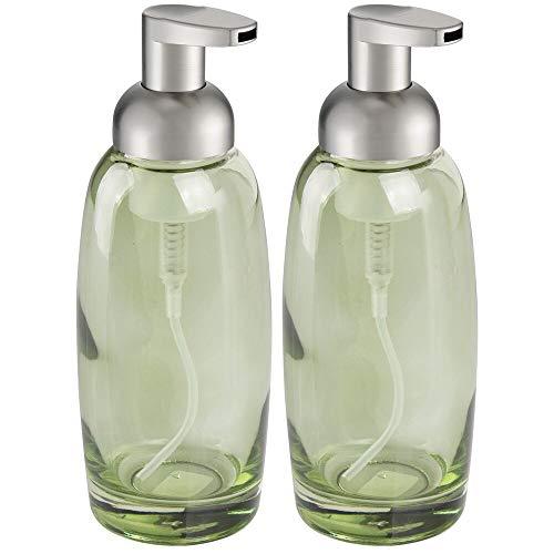 mDesign Modern Glass Refillable Foaming Soap Dispenser Pump Bottle for Bathroom Vanity Countertop, Kitchen Sink - Save on Soap - Vintage-Inspired, Compact Design - 2 Pack - Green/Brushed