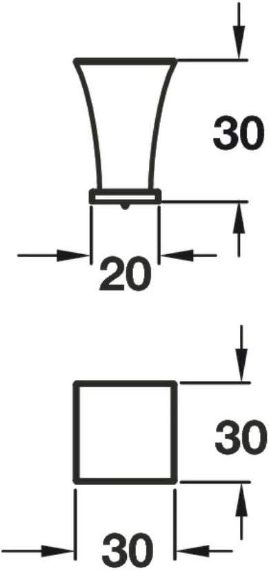 HAF110 Serie VIEFE M/öbelknopf M/öbelgriff Schubladengriff Knopfgriff Schlafzimmer K/üchenschrank Schwarz 15 x 15 mm