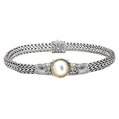 Enchanta Collection Sterling Silver & 18K White Mabe Cultured Pearl -