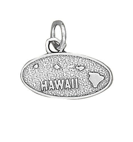 Sterling Silver Hawaii State Charm (Sterling Silver Island State Of Hawaii Map Dangle Charm Bead For Bead Charm Bracelet)