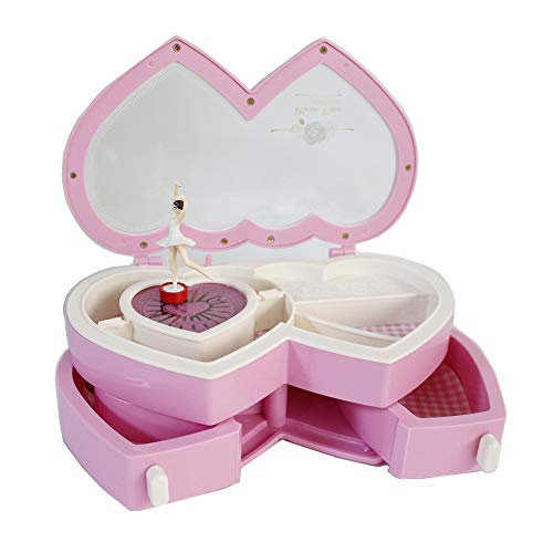 Elloapic Pink Jewelries Keys Small Things Storage Box Makeup Mirror Music Box Winding Box with Music Rotating Dancer for Girls Girlfriends Love Double Hearts by Elloapic