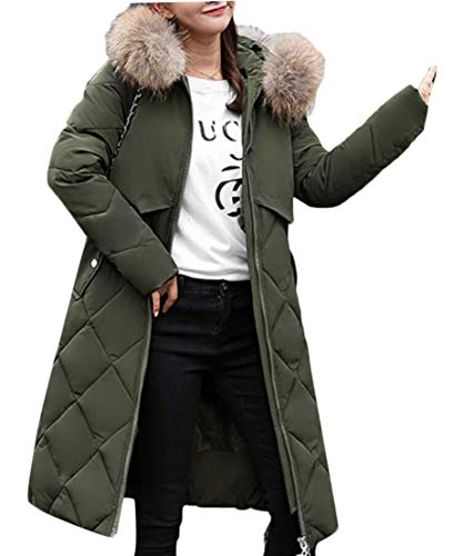 Puffer Hooded Women's EKU Army Long Down Parka Thicken Green Jacket qRECCw