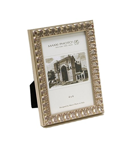 Maxxi Designs Photo Frame with Easel Back, 4 x 6'', Antique Silver Leaf Wood Casa Bella by Maxxi Designs