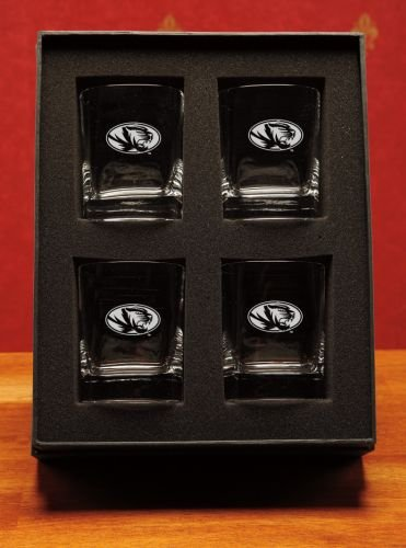NCAA - Missouri Tigers 14 oz Deep Etched Double Old Fashion Glasses Box Set of 4 by CC Glass