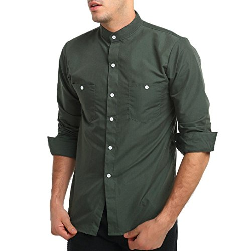 Pervobs Long Sleeve Shirts, Big Promotion! Men's Autumn Casual Long Sleeve Button Down Slim Fit Formal Shirt Top Blouse (M, Army Green) by Pervobs Mens Long Sleeve Shirts