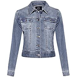 Instar Mode Women's Classic Casual Vintage Denim Jean Jacket/Vest Light Denim XL