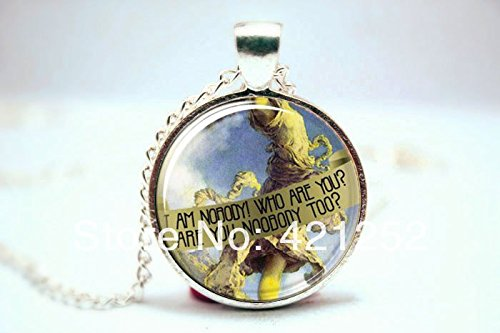 (Pretty Lee 2015 Fashion Emily Dickinson Necklace I Am Nobody Silver Plate Glass Cabochon Necklace 3106 Christmas gift )